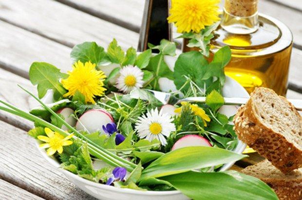Salatmit Fruehlingskäuter - Landurlaub am Bio Bauernhof Leitenmüller